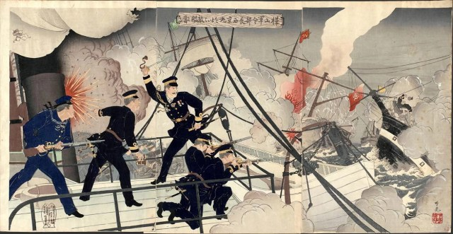 Kabayama, the Head of the Naval Commanding Staff, onboard Seikyōmaru, attacks Enemy Ships