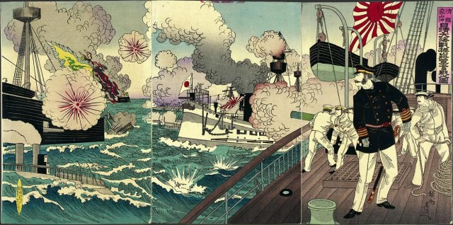 Admiral Kabayama Fights Furiously in the Great Sino-Japanese Naval Battle off Takushan in China