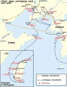 Map of battles during the first Chinese-Japanese war (1894-95)