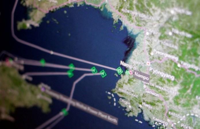 A Thomson Reuters Eikon ship-tracking screen shows cargo ships returning to Nampo port