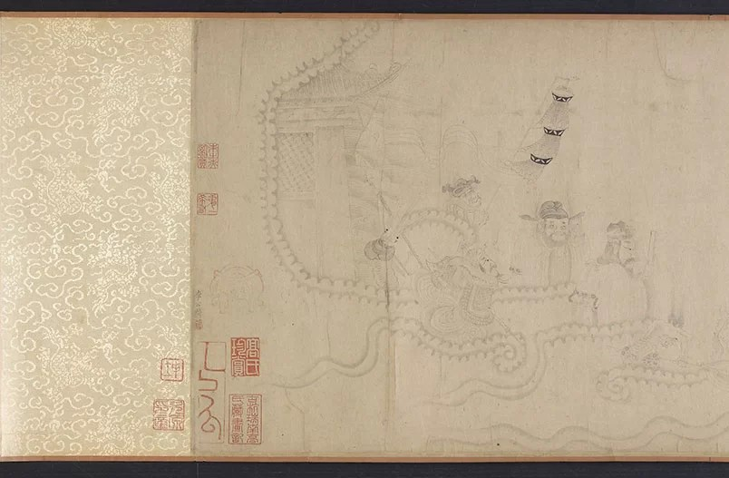Luohans and animals crossing the sea