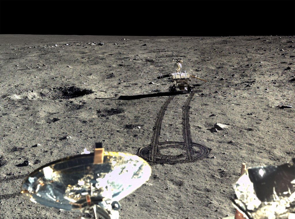 Yutu moon rover on the road