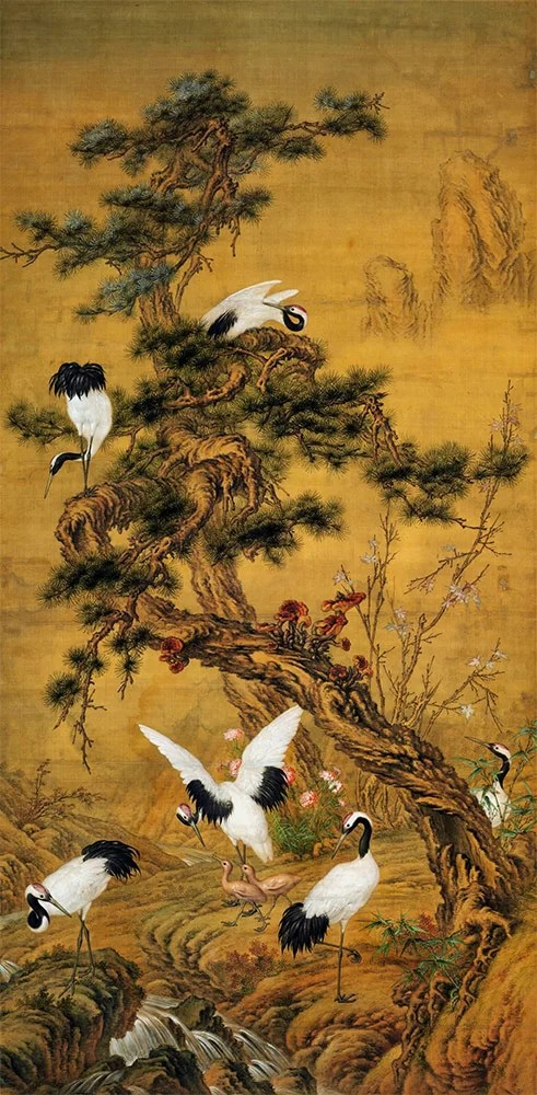 Pines and cranes in spring