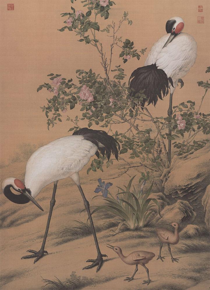 Cranes under Shadow of Flowers