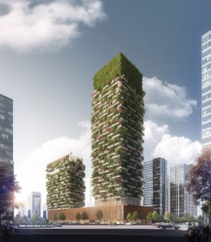 Along the facades of Nanjing Vertical Forest are growing 600 tall trees, 500 medium-sized trees (for a total amount of 1,100 trees from 23 local species) and 2,500 cascading plants and shrubs will cover a 6,000 sqm area.