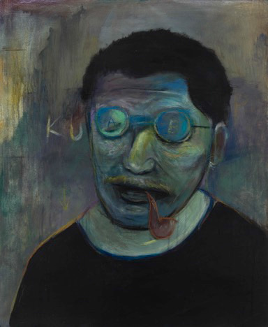 Lu Ming - Foreign Poet - Mixed Media on Wooden Board