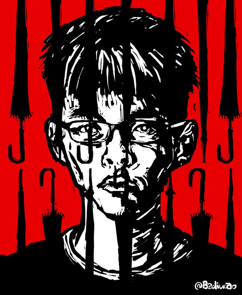 The-prisoner-of-umbrella-joshua-Huang-雨伞囚犯-joshua wong arrested