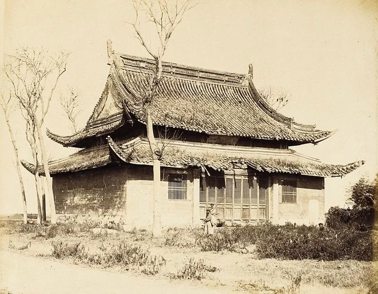 Temple-Building,-N.-China