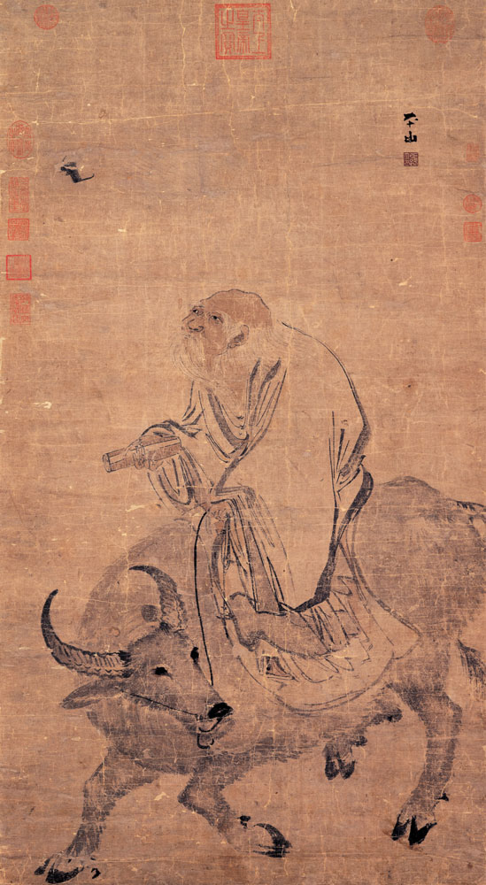 Zhang Lu, Laozi Riding an Ox 畫老子騎牛. Light ink and color on paper. National Palace Museum