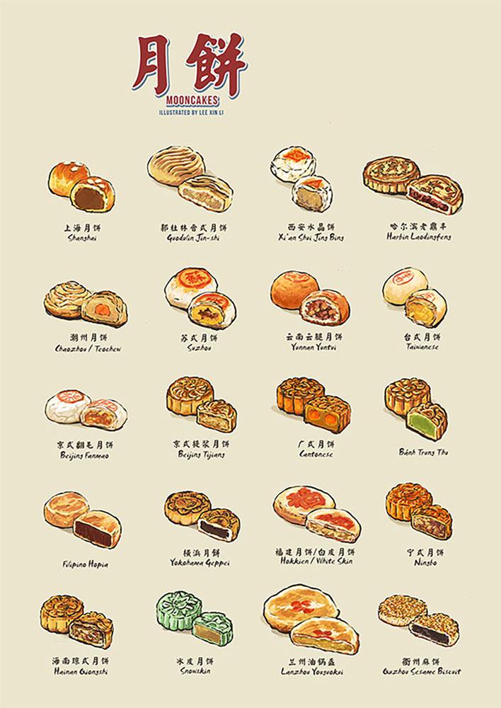 chinese_mooncakes_food illustrator lee xin li_food illustrations