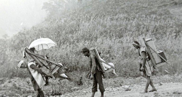 Aborigines porters in mountain area Taiwan