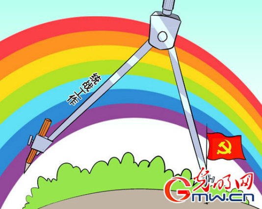 """CCP mouthpiece illustrates what """"United Front Work"""" (characters along the pencil-holding leg) is all about. Credit: http://politics.people.com.cn/n/2015/0606/c1001-27113670.html"""