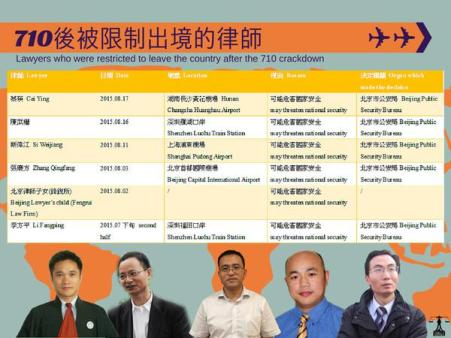 Since July 10, five lawyers have been blocked from traveling outside China. From left to rights: Cheng Hai, Si Weijiang, Zhang Qingfang, and Li Fangping.