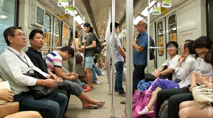 people riding shanghai subway