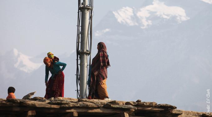 tribal women mountaintop phone mast nepal