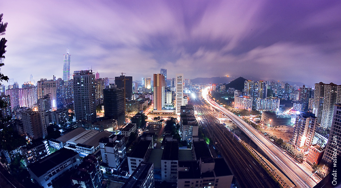 purple cityscape night