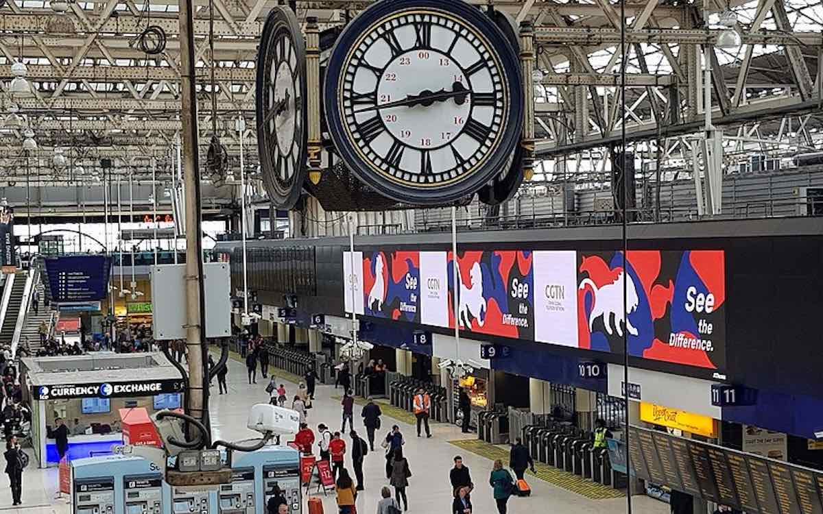 The photo shows rolling ads for CGTN near the main clock at London's Waterloo station. The state-owned Chinese television network had its license revokedin the UK.