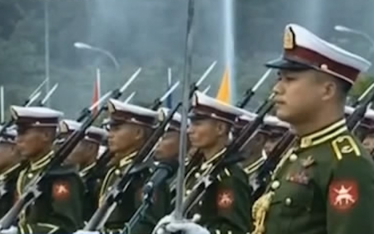 Myanmar soldiers on parade. A state of emergency exists in Myanmar after the military coup