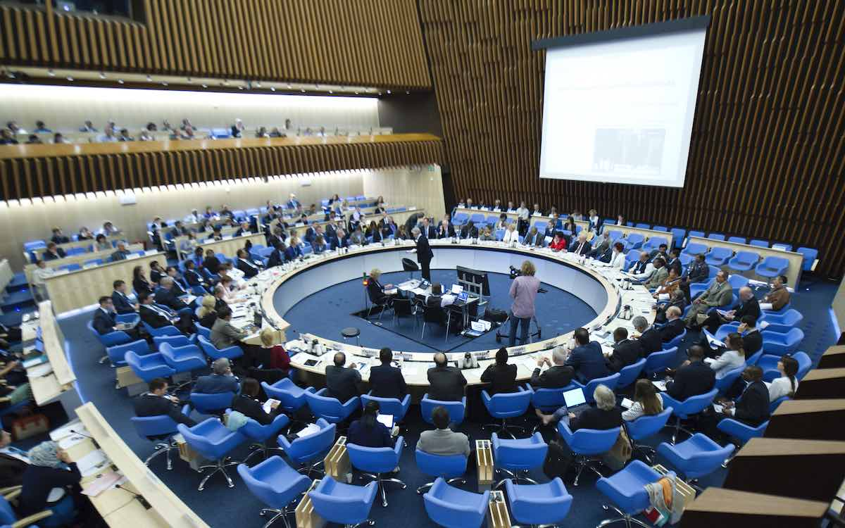 The photo shows the inside of the World Health Organization's headquarters. A WHO team has just returned from a Covid-19 mission in China.