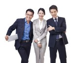 studio portrait happy asian business people, isolated on white.