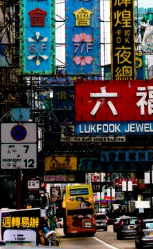 Street signs hanging in Mong Kok