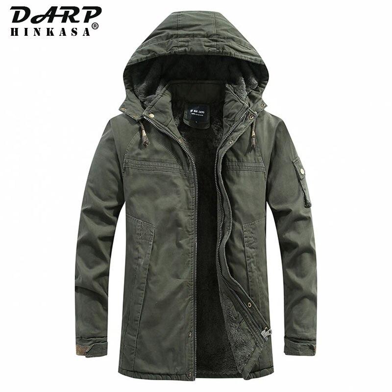 DARPHINKASA, зимние теплые мужские парки, куртки 2020, новая военная парка, пальто, бархатная Толстая ветрозащитная зимняя куртка с капюшоном для му...