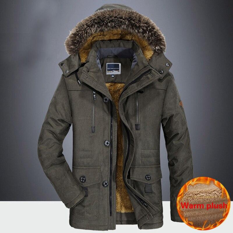 Новинка 2020, зимняя мужская куртка, Толстая Повседневная Мужская ветрозащитная парка с меховым воротником размера плюс 8XL, бархатное теплое ...