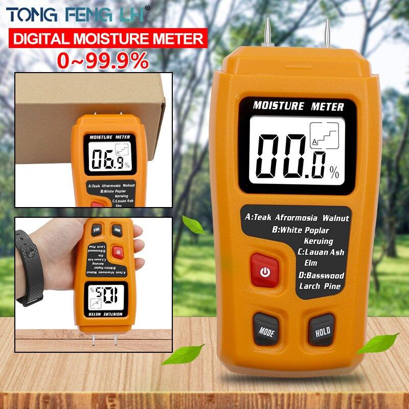 Оранжевый 0-99.9% два контакта цифровой измеритель влажности древесины гигрометр детектор влажности древесины большой ЖК-дисплей