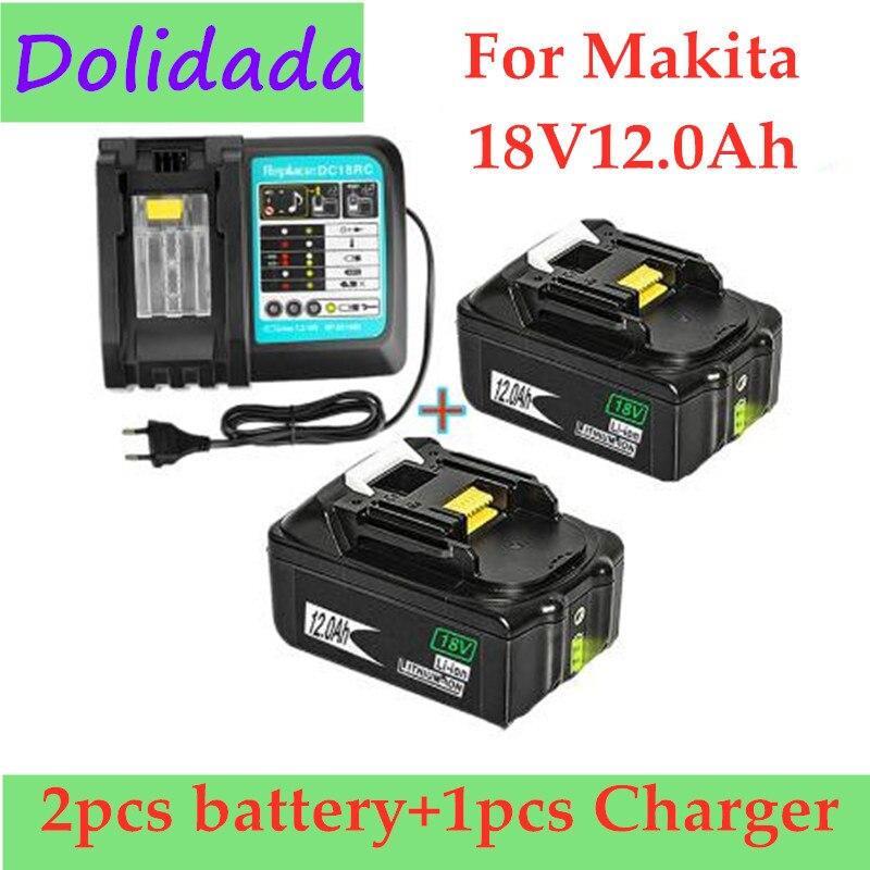 2 шт. оригинальный 18V12Ah Перезаряжаемые Батарея Li-Ion Батарея Замена Мощность инструмент Батарея для MAKITA BL1880 BL1860 BL1830 + Зарядное устройство