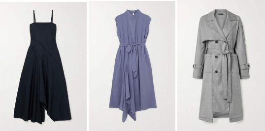 (Left to right) Ely Dress, Aldgate Dress, and Dalston Trench by The R Collective x Wen Pan