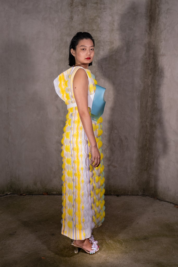 Before the retouch. Snapshot of Shie Lyu's 2018 Parsons graduation collection modeled by Jennifer Liu. Image: Temper archives