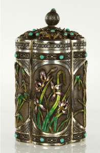 Post 1949 Chinese Silver Filigree and Enamel Canister