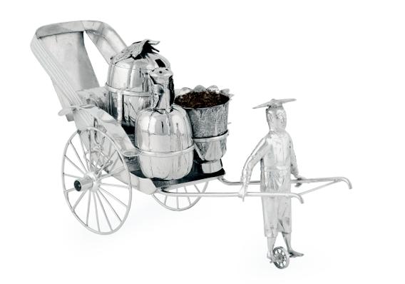 Wang Hing Chinese Export Silver Rickshaw Cadiment Set