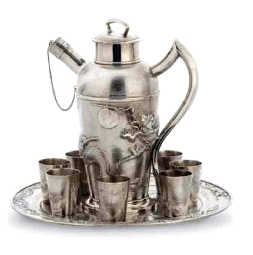 Chinese Export Silver C.J.& Co Cocktail set
