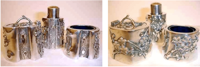 Chinese Export Silver Chi Cheong cruet set