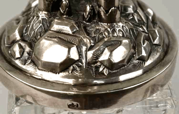 Chinese Export Silver detail of base of Lee Ching standing cup