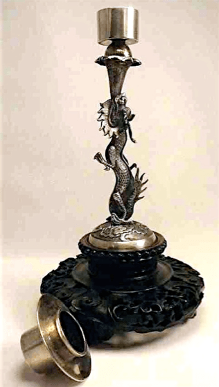 Wo Shing Chinese Export Silver candlesticks