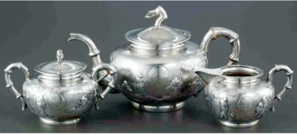 Chinese Export Silver Guang Ji tea set