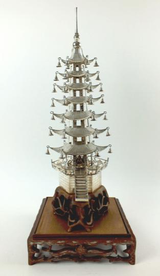 Chinese Export Silver Pagoda by Ju Xing Zheng Ji