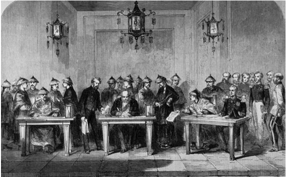 The signing of the Treaty Of Tientsin, 6th June 1859 - making Tientsin a treaty port