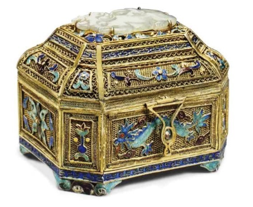 Chinese Export Silver gilt filigree casket