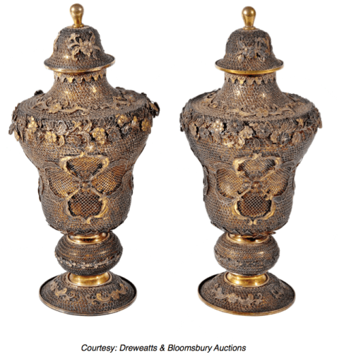Chinese Export Silver Filigree Urns - Pao Ying