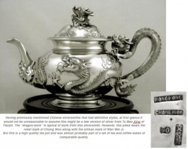 Chong Woo Chinese Silver Tea Pot
