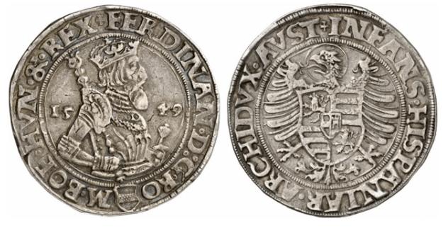 Emperor Ferdinand I 1549 Silver Thaler