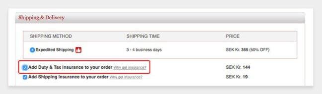 importkosten verzekering bij bestelling uit china