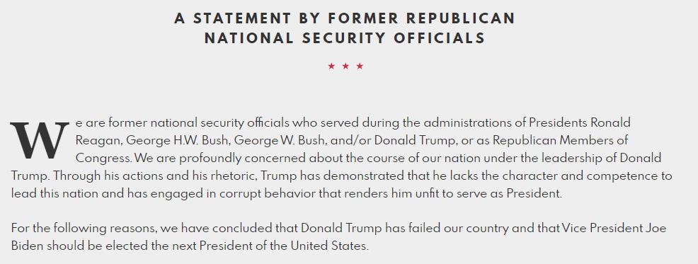 489名退休将领和前国安官员公开信:支持拜登,反对特朗普