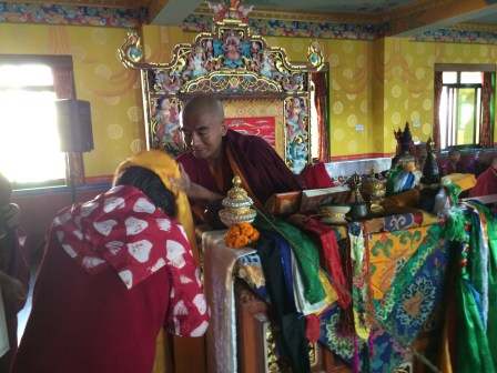 Dorje Palmo making Offering to Rinpoche