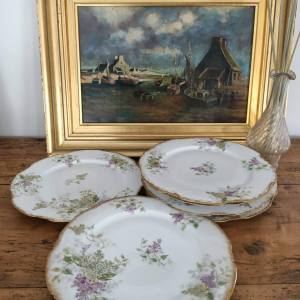 Lot de 6 assiettes à dessert porcelaine de Limoges