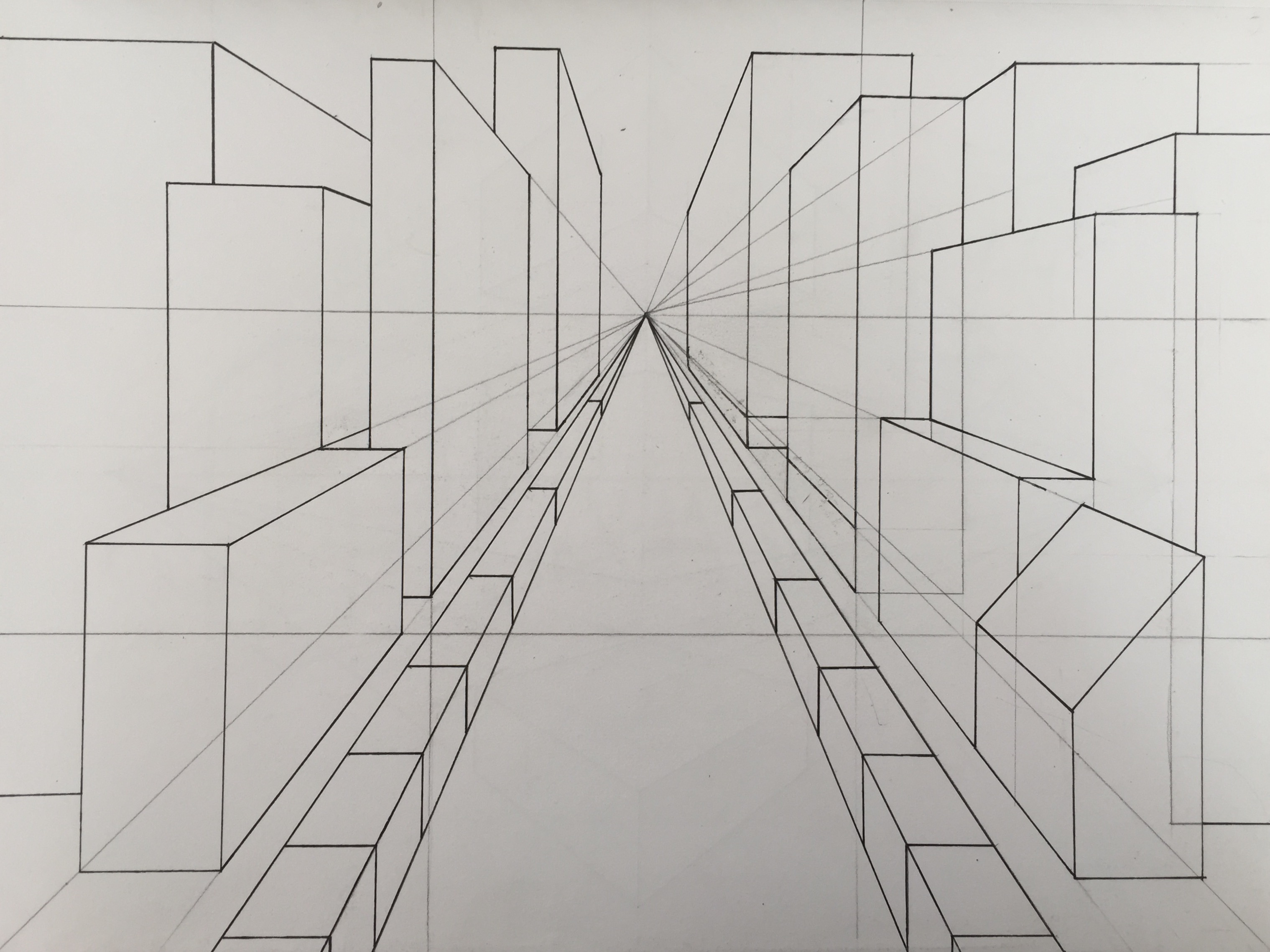 Staircase One Point Perspective Worksheet