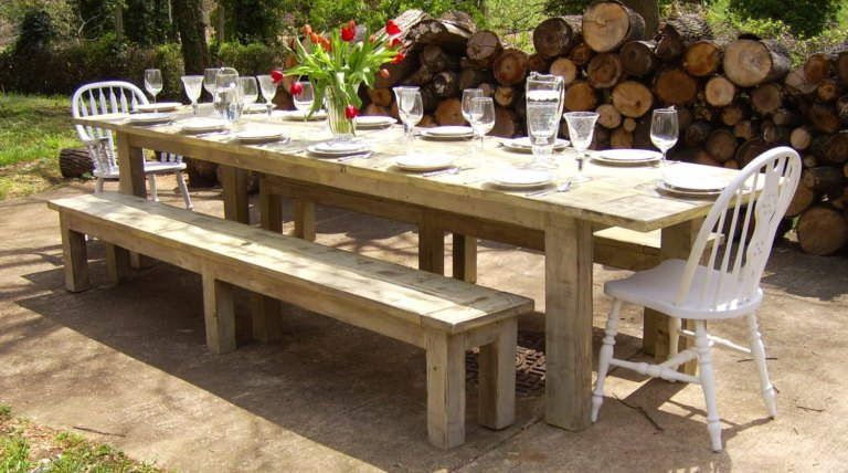 Outdoor farmhouse dining table and chairs